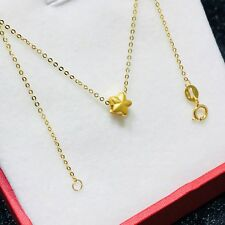 Pure Solid 24K Yellow Gold Five-pointed star Pendant 18K O LInk Necklace 17.7''