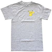 Pokemon Pikachu Small Chest Logo Grey Heather Men's Graphic T-Shirt New