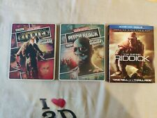 3 Blu Ray - The Chronicles of Riddick/ Pitch black/ Riddick (2 are steelbooks)