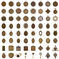 Tibetan Alloy Pendant Cabochon Setting Bezels Antique Bronze Cameo Charm Blanks