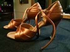 "Ray Rose Woman Latin Dance Shoes, Flesh Satin, 2.5"" flare heel, size 3.5 UK"
