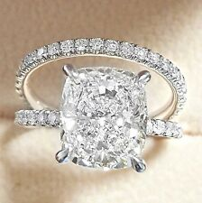 Natural 3.00 Ct Cushion Cut Diamond Engagement Ring Bridal Set GIA G,SI2 18K WG