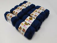 New LION brand Acrylic Navy Yarn #4 Medium Lot Of 10 Small Skeins 650 Yards