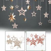 7 Pcs Paper Stars Hanging Wedding Party Birthday Hollow Table Home Garland Decor