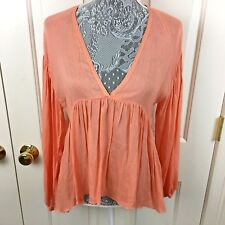 dd34236f801 Zara Tunic Blouse Shirt Hi Lo Pleated Collarless Coral Orange Size S 2 4  Boho