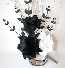 Artificial Silk Flower Arrangement Black & White Lily Flowers Silver Vase.