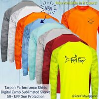New Tarpon Digital Camo Performance Fishing Long Sleeve Shirts, 50+ UV Sun Shirt