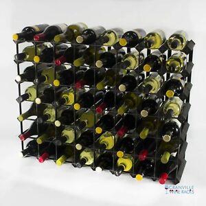 Cranville wine rack storage 56 bottle black stain wood and black metal assembled