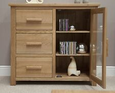 Eton solid oak furniture small glazed sideboard hi-fi cabinet chest