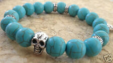 Men Woman Skull Turquoise Bracelet Blue Harley Steel Flames Cross sz 6-9 Inch