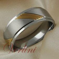 8MM Titanium Wedding Band 14k Gold Glamour Matte Anniversary Bridal Ring