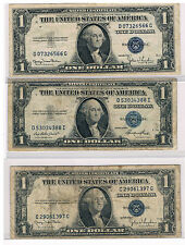 Lot of Three 1935 One Dollar Bills, Blue Seal,Circulated, Hard To Find, Nice!!