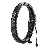 Leather Bracelet Bangle Men Women Cuff Rope Black Surfer Wrap Adjustable