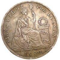 Peru - 1 Un Sol 1872/72 YJ  Double Date - Silver -Very High Grade Coin KM#196.3