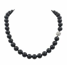 Natural Stone Black Onyx Agate 10mm Round Beads Magnet Clasp Necklace 18''