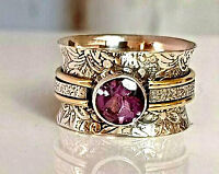 Amethyst Gemstone 925 Sterling Silver Spinner Handmade Women Ring All Size R134