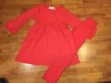 Lolly Wolly Doodle Girls Sz. 12-14 Coral 3/4 Bell Sleeve Swing Top Legging Set