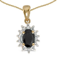 """14k Yellow Gold Oval Onyx And Diamond Pendant with 18"""" Chain"""