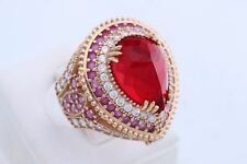 925 Sterling Silver Turkish Handmade Jewelry Drop Ruby Topaz Ring Size 8.5