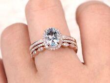 2.90Ct Oval Cut Aquamarine Diamond Trio Set Engagement Ring 14K Rose Gold Finish
