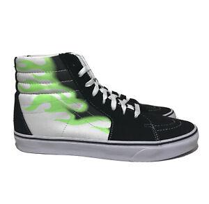 Vans Mens Sk8 Hi Flame Mens Size 11.5 Black Green Skateboarding Casual Shoes
