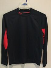 Men'S Under Armour Red & Black Cold Gear Mock Neck Long Sleeve Shirt - Size L