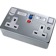 Timeguard TFA07M Metalclad 2 Gang RCD Switch Socket 13 Amp (Active)