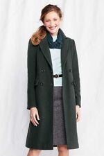 NEW WOMEN 6 6T 10 10T LANDS END LUXE WOOL DOUBLE BREASTED COAT FULL LENGTH GREEN