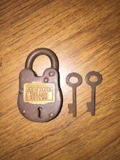 Vintage Style Padlock Key Brass Lock Wild West 1900s New York Insane Asylum NR