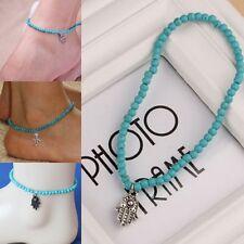 Vintage Boho Hamsa bead anklet ankle bracelet summer beach hippy love festive