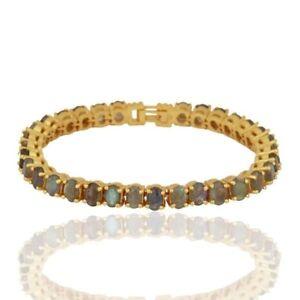 Labradorite 18K Gold Plated 925 Sterling Silver Tennis Bracelet Gemstone Jewelry