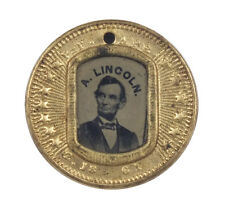 Rare 1864 Abraham Lincoln / Andrew Johnson Campaign Token w/ Ferrotype Images