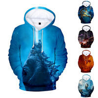 Godzilla King Of The Monsters Dragon Hoodie Tops Cotton Pullover Sweather 3D