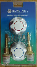Shower / Bath / Kitchen Tap Spindle Set With White Tap Handles & Chrome Flanges
