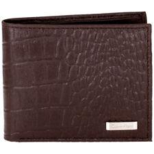 Calvin Klein Croco en relieve para Hombre Medio Marrón Cuero doble pliegue Billeteras 2979506-BRN