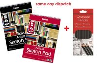 A4 Artist Sketch Drawing Book Pad 50 Sheets 70gsm Sketching +12 Charcoal Pencils
