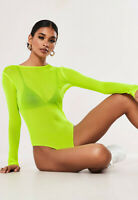 Womens Sheer Mesh See Through Long Sleeve Leotard Bodysuit Summer T-Shirt Top
