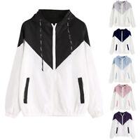 Women Long Sleeve Patchwork Thin Skinsuits Hooded Zipper Pocket Coat Windbreaker