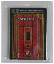 "(HCW) Ottawa Senators 5""x3.5"" Art Glass Switch Plate Cover With Screws"