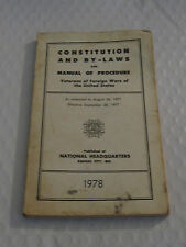 Vintage Constitution And By Laws and Manual Of Procedure Vfw of United States