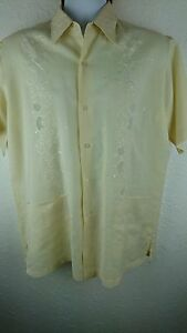 Vintage Double Red Horse Men Large Embroidery Floral Yellow Linen Blend Shirt G