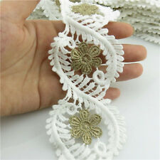 1 Meter Embroider Salix Leaf 58mm White Flower Lace Bridal Trims Applique Sewing