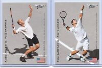 ANDRE AGASSI & PETE SAMPRAS U.S.A. 2003 NETPRO ELITE DUAL FLIP ROOKIE CARD!