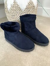 Primark Ladies Navy Fur Lined Ankle Casual Boots Size 5 NEW