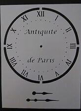 "Clock face hands Antiquite de Paris 8.5"" x 11"" Custom Stencil FAST FREE SHIPPING"