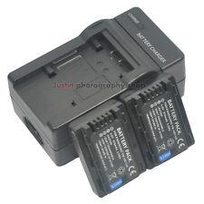 Charger +2x Battery for Panasonic VBY100 VW-VBY100 HC-V110 HC-V201 HC-V130 V130K