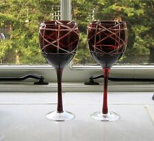 Pair Bohemian Red Cut to Clear Hock Glasses - Red Stems Measures 21cm high.