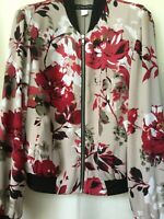 INC INTERNATIONAL CONCEPT FLORAL BOMBER JACKET WOMEN S PREOWN BEIGE RED BLACK SI
