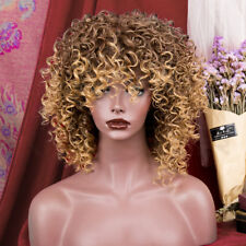 Women Long Curly Synthetc Hair Full Wig Cosplay Brown Heat Resistant Afro Wigs