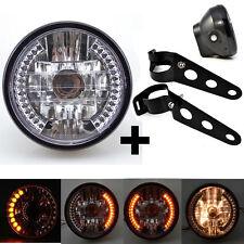 "7"" Motorcycle Round LED Headlight Lamp Bulb + Support Brackets For Harley Honda"